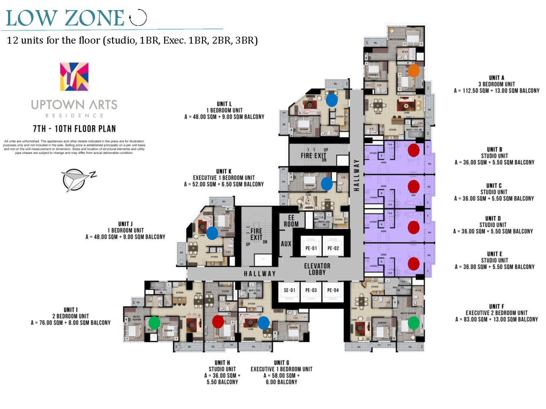 Low Zone Floor Plan Uptown Arts Residence  Preselling Condo For Sale in Bonifacio Global City BGC