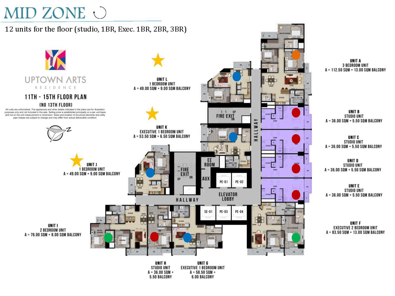 midzone floor plan Uptown Arts Residence  Preselling Condo For Sale in Bonifacio Global City BGC