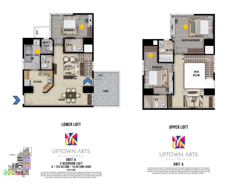 3 Bedroom Loft Unit Layout Uptown Arts Residence  Preselling Condo For Sale in Bonifacio Global City BGC