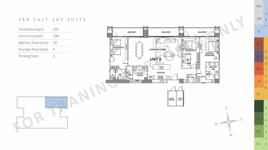 parklinks north tower unit layout 3br east sky suite