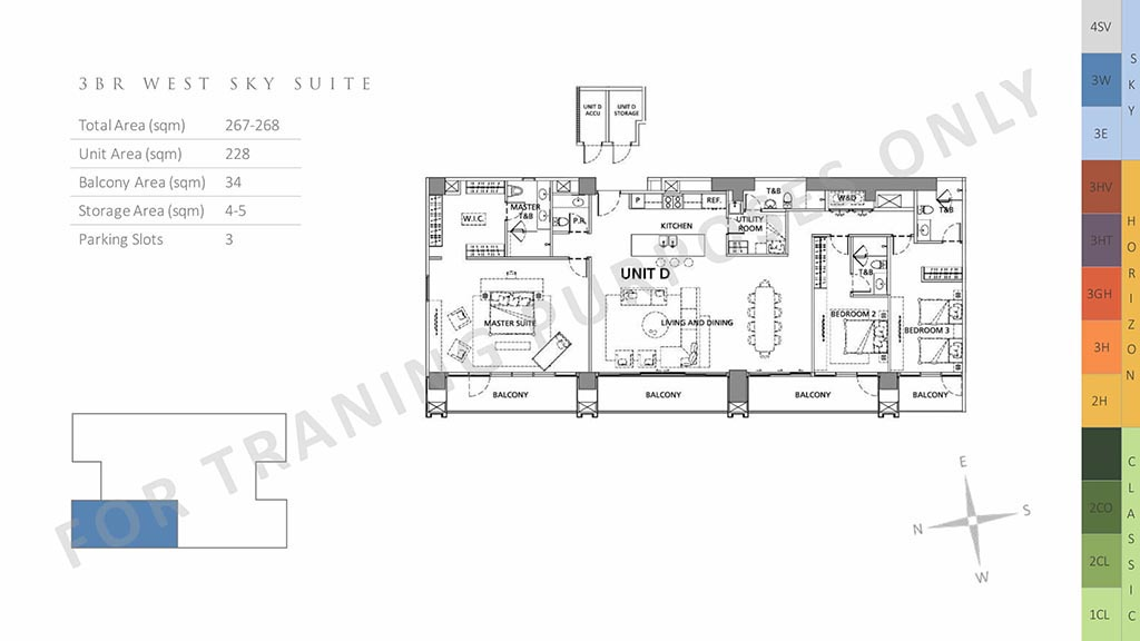 unit layout three bedroom west sky suite preselling condo for sale in parklinks north tower pasig city and quezon city