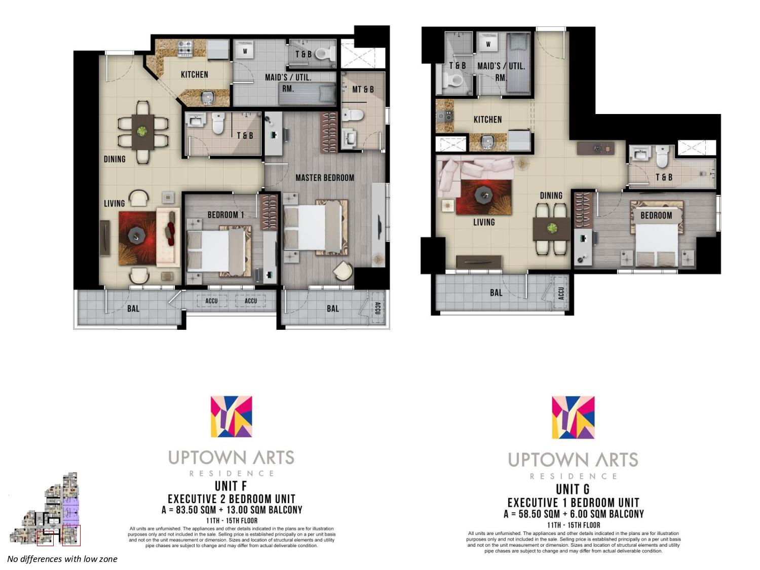 Executive Two Bedroom Loft Unit Layout Uptown Arts Residence  Preselling Condo For Sale in Bonifacio Global City BGC