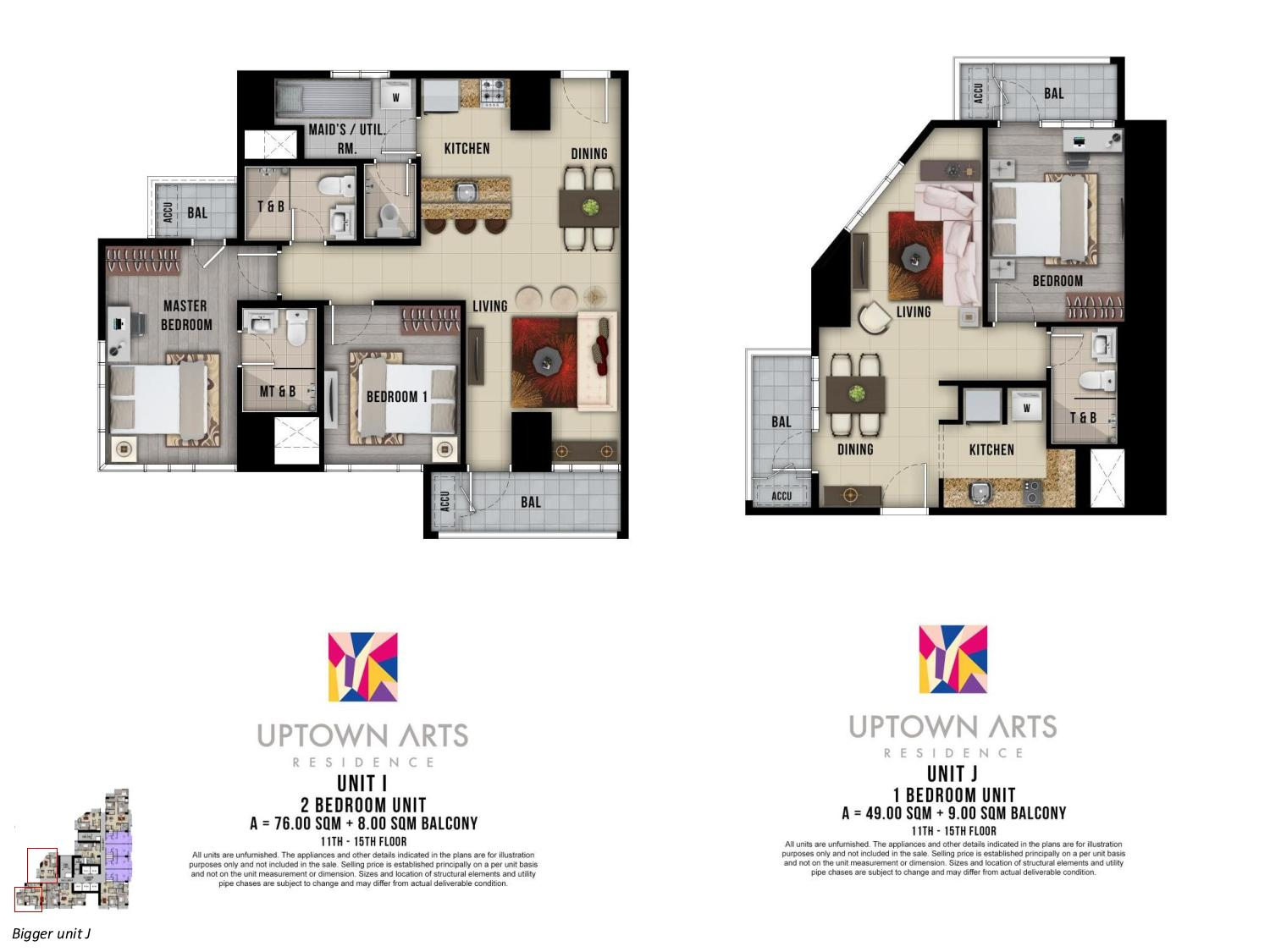 Two Bedroom Unit Layout Uptown Arts Residence  Preselling Condo For Sale in Bonifacio Global City BGC