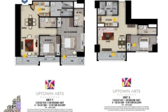 Executive Two Bedroom Unit Layout Uptown Arts Residence  Preselling Condo For Sale in Bonifacio Global City BGC